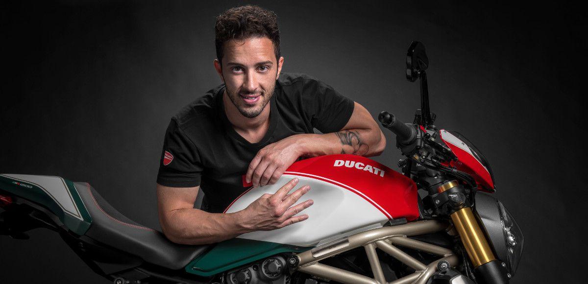 Il Ducati Monster 1200 25° Anniversario presentato dal piltoa di Motogp Andrea Dovizioso